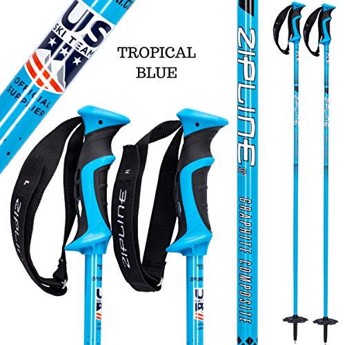 Zipline Ski Poles Carbon Composite Graphite Blurr 16.0 U.S. Ski Team Official Ski Pole (Downhill/Mens/Womens/Kids/Junior/Freestyle/Racing) (Tropical Blue, 38