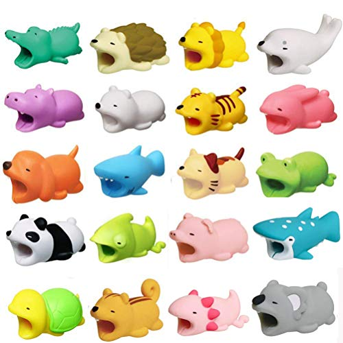 20 Pieces Cable Bites Cute Animal Cable Protector for iPhone Cable Charging Cord Saver, Cute Creature Bites Cables Charger Protector Accessory