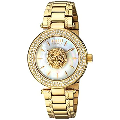 9c08b380ae87 Versus by Versace Women s  Brick Lane  Quartz Stainless Steel and Gold  Plated Casual Watch(Model  S64090016)