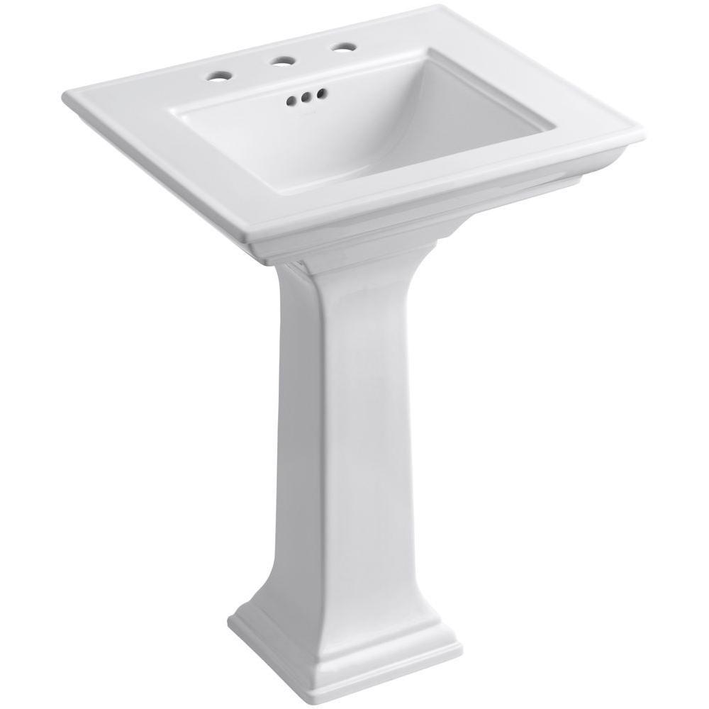 KOHLER K-2344-8-0 Memoirs Pedestal Bathroom Sink with Stately Design and 8'' Centers, White by Kohler