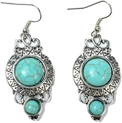Ginasy Sterling Silver Plated Long Turquoise Oval Stud Drop Earrings
