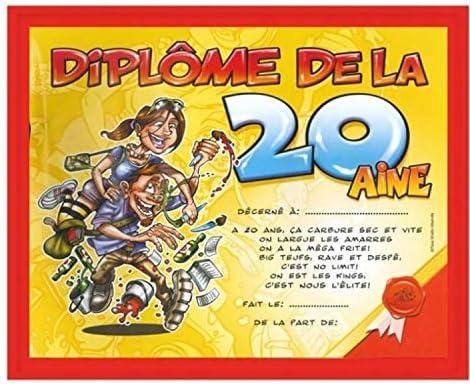 Cadeau Anniversaire Humoristique Cadre Diplôme Des 20 Ans Amazon