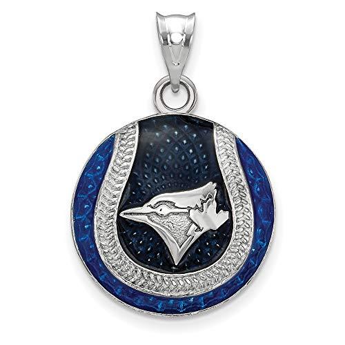 (MLB Toronto Blue Jays Sterling Silver Toronto Blue Jays Enameled Baseball Pendant Size One Size)