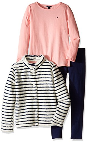 Nautica Little Girls Striped Jacket, Long Sleeve Shirt and Legging