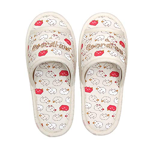 Hygienic 100% Cotton Non Slip Washable Slippers,Open Toe & Unisex, Made in Korea (Sheep Pink)