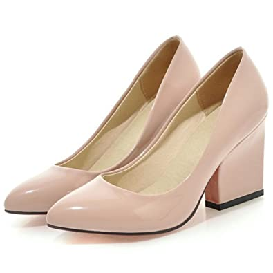 328808cc3f4 Summerwhisper Women s Dressy Pointed Toe Work Shoes Chunky Heel Wide Width  Slip on Patent Leather Pumps