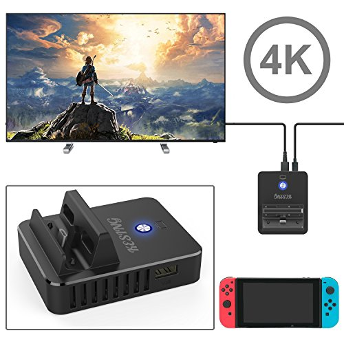 Mini Porbable Dock Set for Nintendo Switch, HDMI Adapter for Nintendo Switch with 4K 60HZ(BLACK)