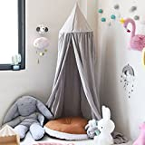 Princess Bed Canopy for Children, Cotton Mosquito Net Kids Play Tent Dome Room Decoration for Baby Playing Reading Height 240cm/94.5Inches (Grey)