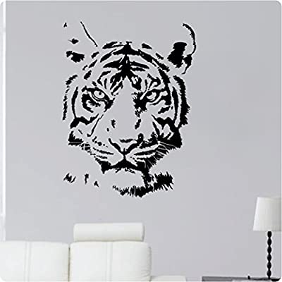 """30"""" Tiger Face Animal Kingdom Detailed Zoo Wild Jungle Mural Cat Wall Decal Sticker Art Mural Home Décor Quote"""