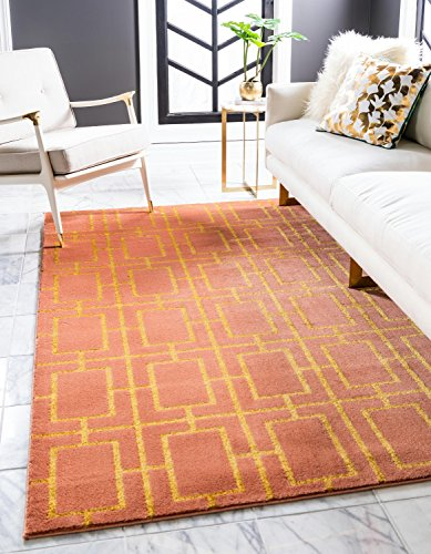 Unique Loom Marilyn Monroe Glam Collection Textured Geometric Trellis Coral Gold Area Rug (4' 0 x 6' 0)