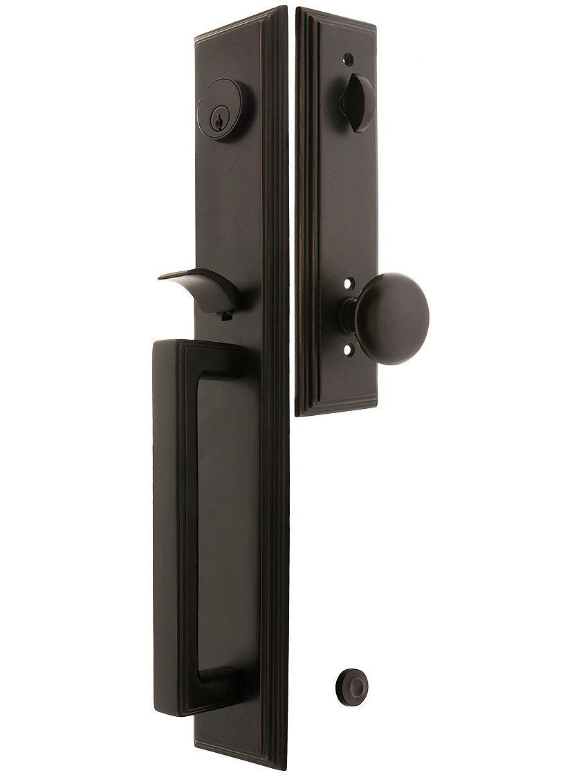 """Melrose Style Tubular Handleset In Oil Rubbed Bronze With Providence Knobs And 2 3/8"""" Backset. Antique Handles."""