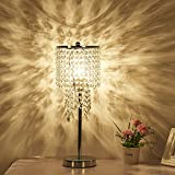 Surpars House Raindrop Silver Crystal Table Lamp for Bedroom,Living Room,Girls Room or as Wedding Gif