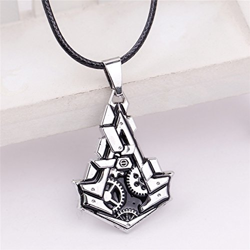 jewelry around game assassin's creed gear necklace pendant chain amazon (silver '