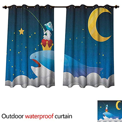 Anshesix Whale Home Patio Outdoor Curtain King Whale on Top of Night Clouds with Stars and Moon with Child Sitting on Print W72 x L72(183cm x 183cm) ()