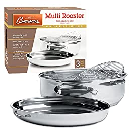 Stainless Steel Professional Grade Multi Roaster - Four Cookware Products in One, including Extra Large Roaster
