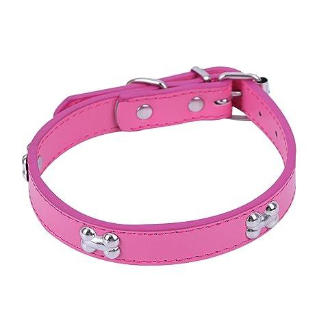 KDSANSO Ajustable para Mascotas Collar de Perro de Cuero PU del ...