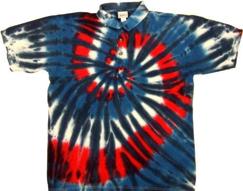 (Tie Dyed Shop Red White Blue Spiral Golf Tie Dye Sport Collared Polo Style Shirt-Large-Multicolor)