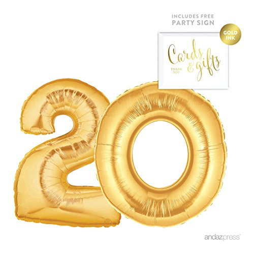 Andaz Press Giant Gold Helium Foil Balloon Party Kit with Sign, Jumbo 40-inch, Number 20, Metallic Gold Shiny Mylar, 1-Pack, Includes Free Party Sign!, 20th Birthday Party Decorations - 20th Birthday Decorations