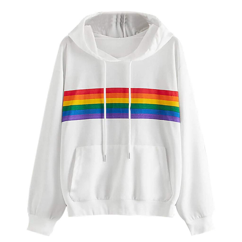 WYTong Hot Sale! Woman Fashion Casual Loose Hoodie Sweatshirt O-Neck Rainbow Print Long Sleeve Pullove Top(White,S) by WYTong