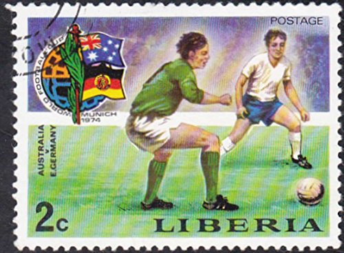 LIBERIA 1974 Australia v. Germany Football World Cup 2c Cancelled Postage (1974 Football World Cup)