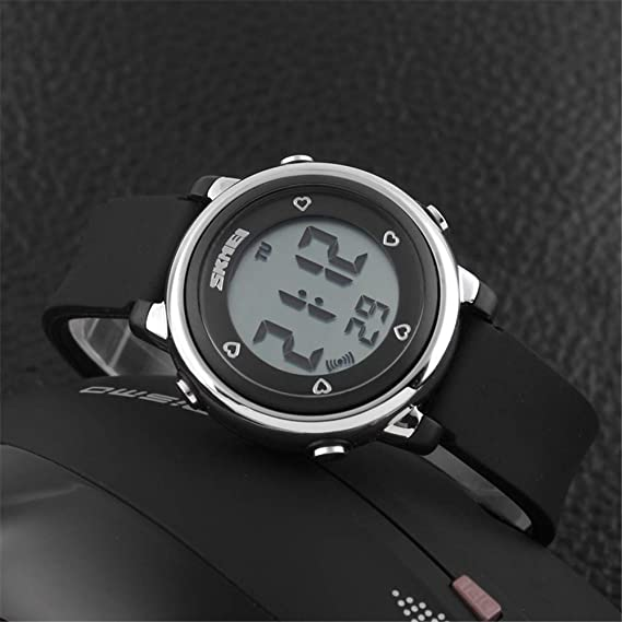 Amazon.com: FEIWEN Multifunction Digital Sports Military Watches Children Outdoor 5ATM Waterproof 7 Multicolor LED Backlight Black Plastic Case with Rubber ...