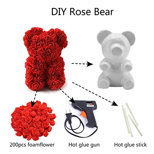 (FRCOLT DIY Rose Teddy Bear Modeling Foam Bear + 200 Pcs Roses Flower+Glue Gun+Glue Stick for DIY Crafts Gifts Accessories (DIY Rose Foam Bear,)