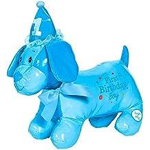 "Little Buddy Boys' 1st Birthday Party Autograph Puppy , Blue, Vinyl , 12 1/2""H x 12 1/2""W x 5""D, Pack of 1"
