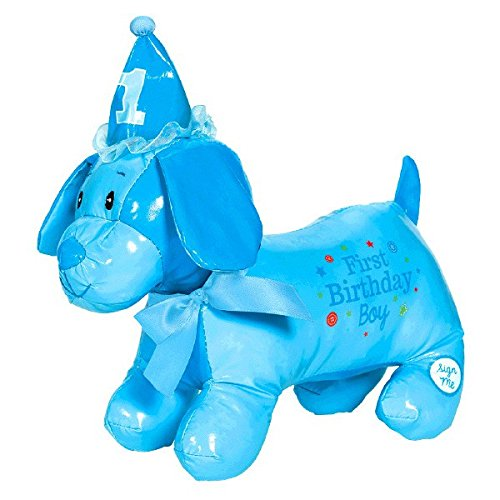 Little Buddy Boys' 1st Birthday Party Autograph Puppy , Blue, Vinyl , 12 1/2