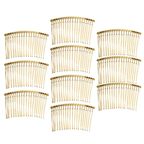 MagiDeal 10 Pieces Vintage Handmade DIY Wire Comb Metal Hair Combs Base 4 Colors Plated Womens DIY Wedding Bridal Hair Jewelry - gold