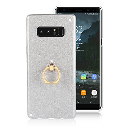 Galaxy Note 8 Case,Note 8 Case,DAMONDY 2 In 1 Bling Ultra Thin TPU Soft Glitter Paper Back Cover with Ring Holder Kickstand Case for Samsung Galaxy Note 8 2017 -silver