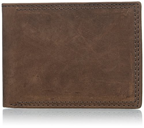 Bi Leather Fold Distressed (Buxton Men's Thinfold Bifold Wallet, Brown, One Size)