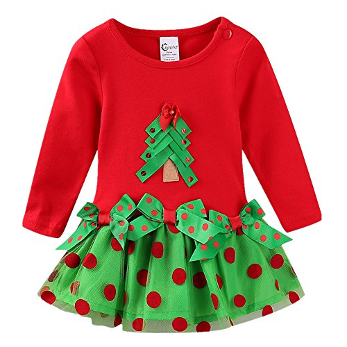 LittleSpring Baby Girls Dress Tree Christmas 3 Months Red Long -