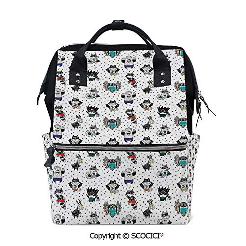 SCOCICI Stylish Durable School Backpack,Animal Owl Dear Fox Cat Penguin Raccoon Bear in Superhero Costumes Print,for Men and Women Bookbag ()
