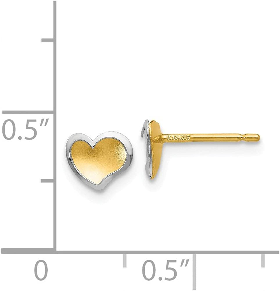 Mia Diamonds 14k Gold Two-tone Polished and Satin Heart Post Earrings