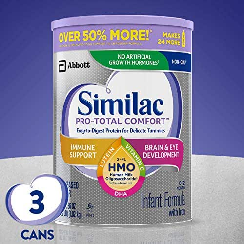 Similac Pro-Total Comfort Infant Formula OPTI-GRO, Non-GMO, Easy-to-Digest, Gentle Formula, with 2'-FL HMO, for Immune Support, Baby Formula, Powder, 36 Ounce ,Pack of 3