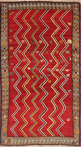 Zig/Zag Geometric One-of-A-Kind Gabbeh Persian Area Rug Hand-Knotted Oriental Red 4'X7' (6' 7'' X 3' 9'')