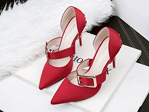 Rojo Versión Zapatos Nocturno Sandalias de de Club Coreana Sexy de LBLX Sandalias Moda Alto de estrechas Tacón Sandalias Tacón BwUgxp