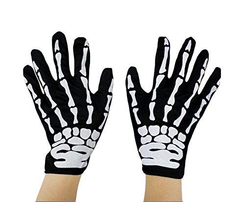 Ealafee Unisex Halloween Bone Gloves For Cosplay Skeleton Ghost Festival (Halloween Nails Designs 2017)