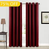 Balichun Blackout Curtains Thermal Insulated Solid Grommets Curtains For  Bedroom/Living Room (2 Panels