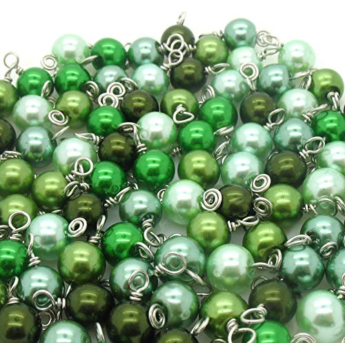 30 Glass Pearl Bead Charms - 8mm Wire-Wrapped Bead Dangles - Dangle Charms in Green - Set 3