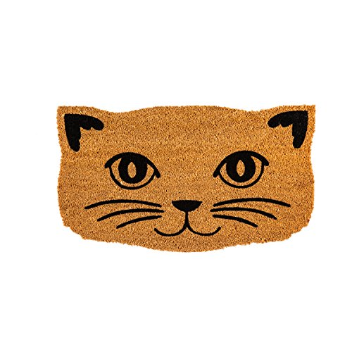 Cat Purrrfect (Evergreen Flag 2RM467 Cat Face Shaped Coir Mat, Multi-Colored)