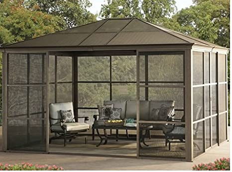 caseta de Verano para Jardín, cabaña grande de aluminio, Lugar de descanso, oficina al aire libre, edificio moderno, para Patio, estructura resistente con puertas: Amazon.es: Jardín