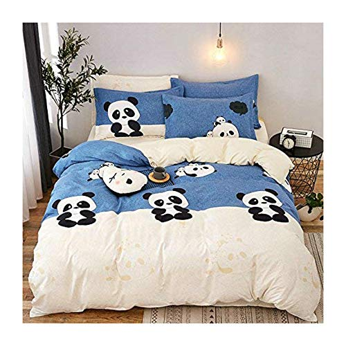 "KFZ Panda Printed Blue Beige Color Bed Set [4pcs Bedding -78""x90""Duvet Cover, Flat Sheet,2 Pillow Cases. No Comforter] Animal Theme, Quality Microfiber, Soft, 100% Kids Safe (Cute Panda, Queen)"