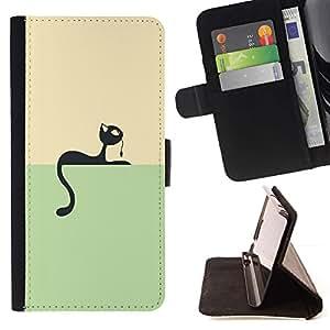 For Motorola Moto E ( 1st Generation ) Case , Minimalista Gato y ratón juego- la tarjeta de Crédito Slots PU Funda de cuero Monedero caso cubierta de piel