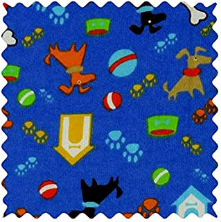 product image for SheetWorld 100% Cotton Flannel Fabric by The Yard, Doggy Play Blue, 36 x 44