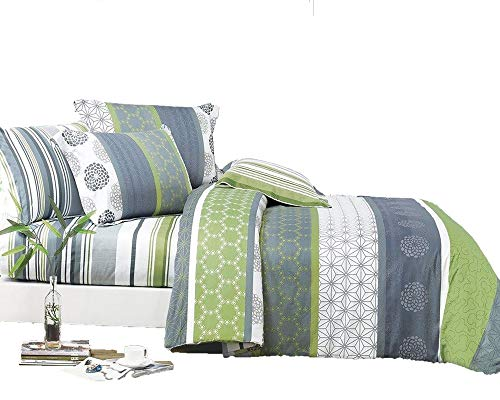 Swanson Beddings Serene 3-Piece 100% Cotton Bedding Set: Duvet Cover and Two Pillow Shams (Queen)