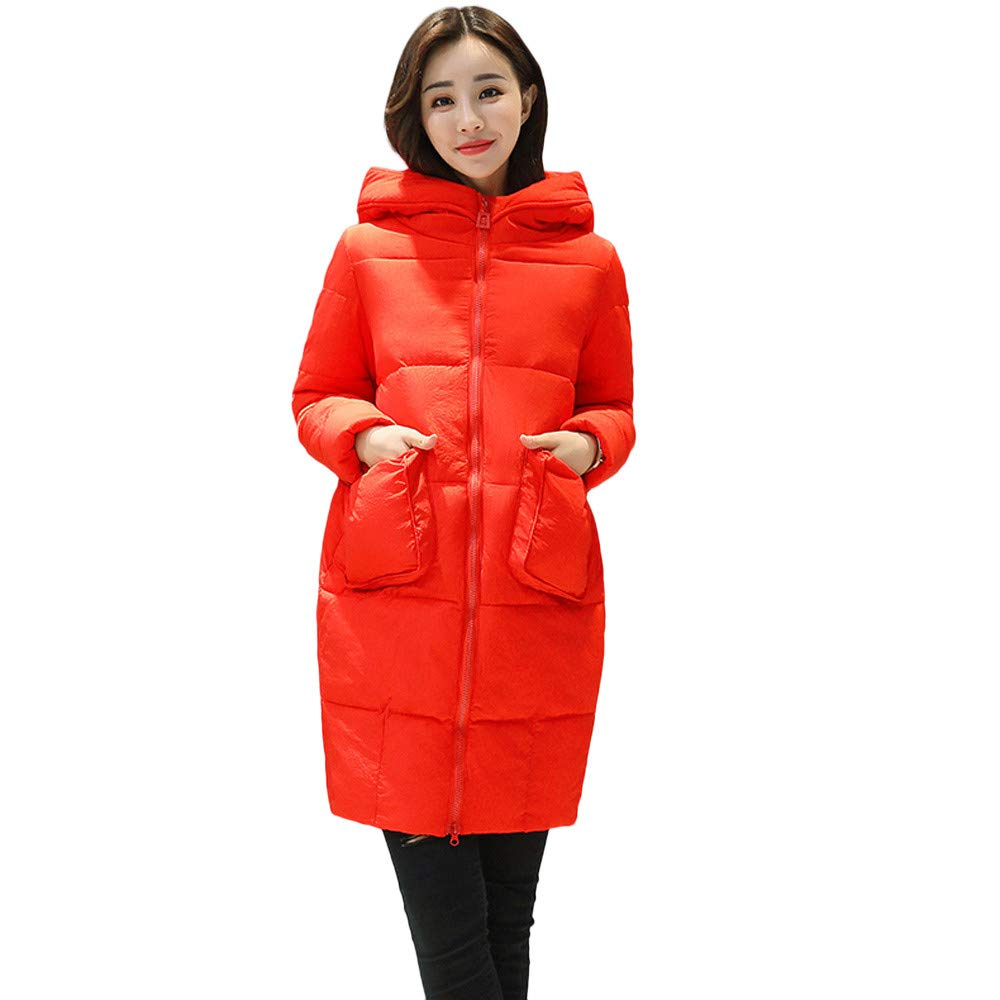 Seaintheson Women's Knee-Length Down Puffer Coat, Winter Warm Faux Fur Hooded Thick Slim Jacket Long Overcoat Red
