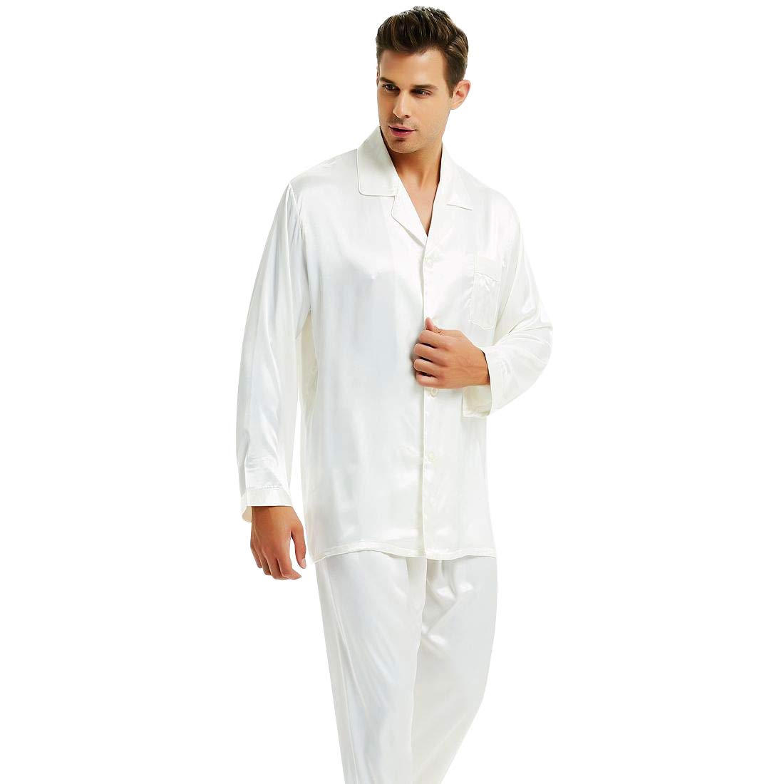 Mens Silk Satin Pajamas Set Sleepwear Loungewear White M