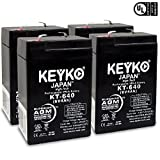 Carpenter Watchman 610518 6V 4Ah SLA Sealed Lead Acid AGM Rechargeable Replacement Battery Genuine KEYKO - F1 Terminal - 4 Pack