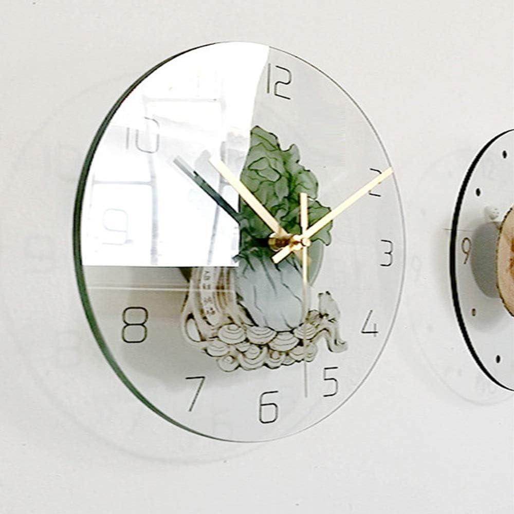 Couleur : Vert, Taille : 29.5cm Gububi-Home Horloge Murale Horloge Murale cr/éative en Verre avec Motif de Chou imprim/é Non Ticking